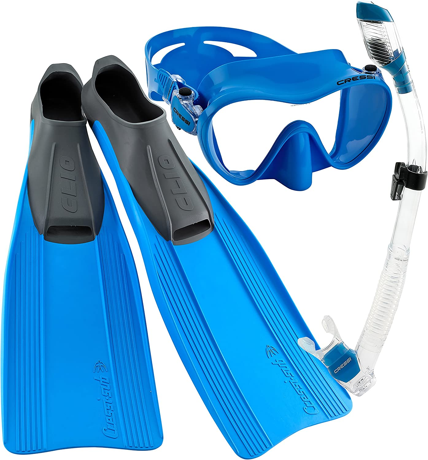 Size 7//8-Size 41//42 Cressi Clio Full Foot Fin Frameless Mask Dry Snorkel Set with Carry Bag Blue