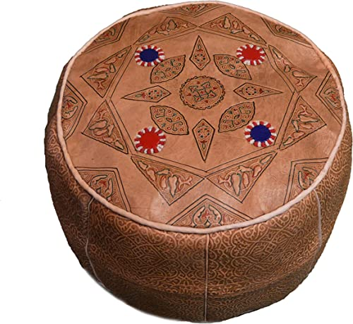 Moroccan Poofs Hassock Hand Made 100 Leather Ottoman Comfortable Round Design Foot Stool