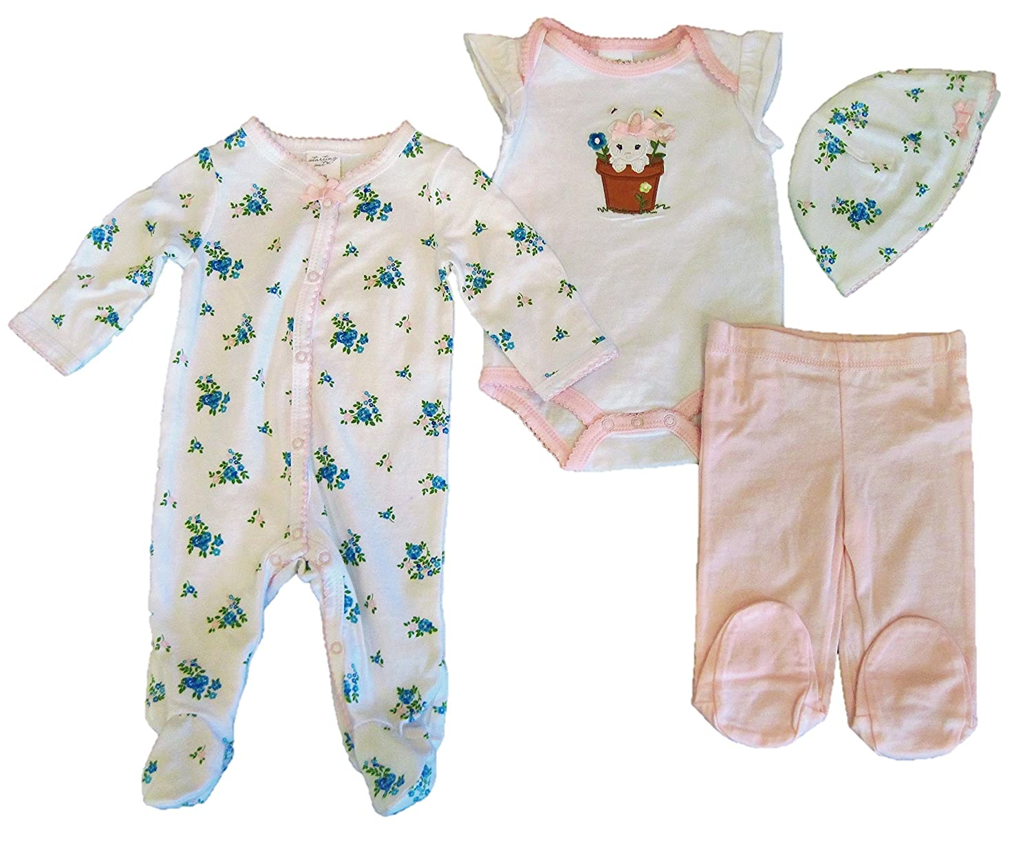8d766f362c76 Amazon.com  Starting Out Baby Girls  4 Piece Layette Set
