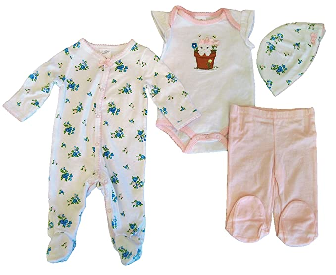 Amazon Com Starting Out Baby Girls 4 Piece Layette Set Bunny In