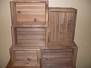 Amazon.com: Rustic Nesting Wood Crates Set of 5 Made in the USA ...