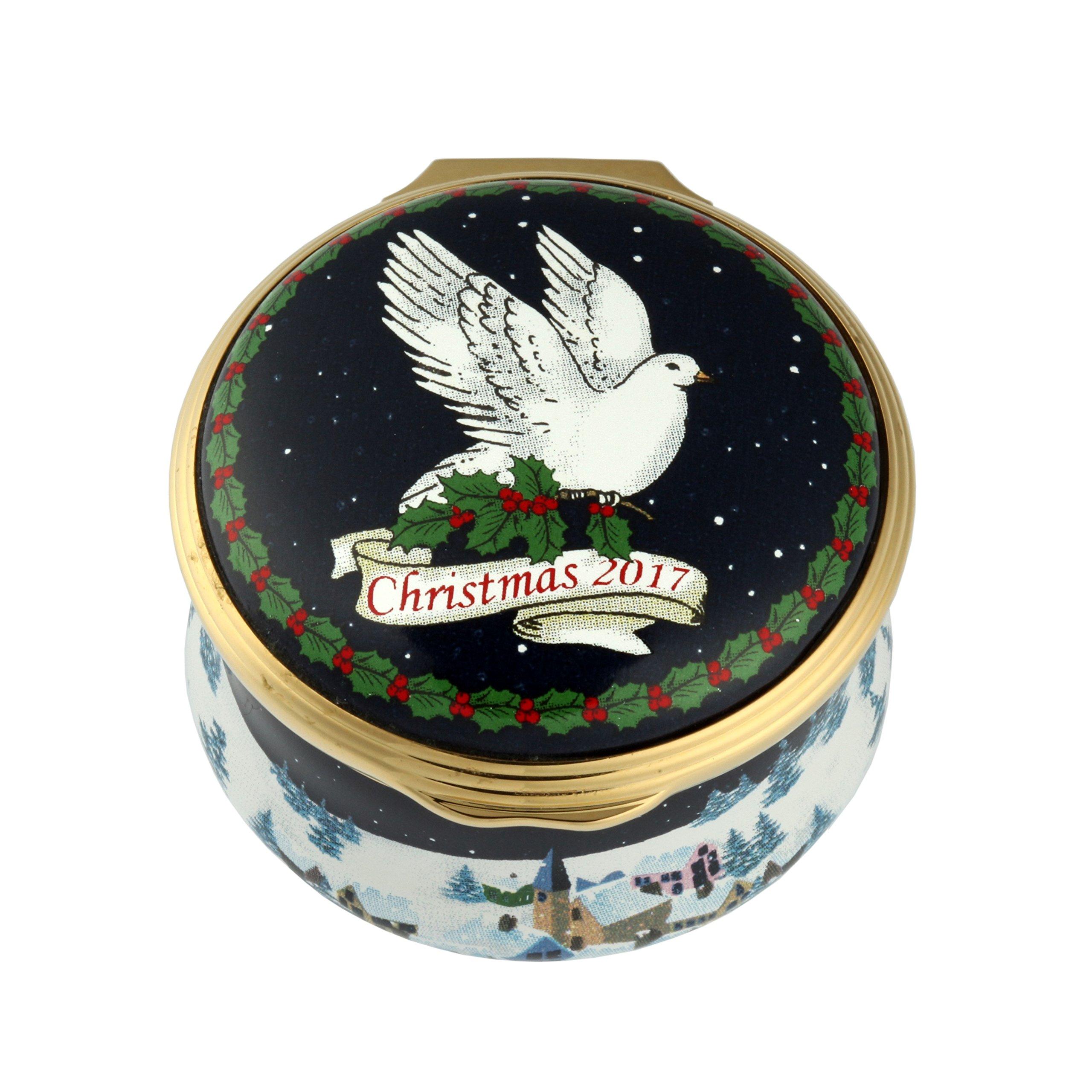 Halcyon Days, Christmas 2017 Dove of Peace Enamel Box w/Inside Inscription, 24K Gold Fittings, Gift Box by Halcyon Days (Image #2)