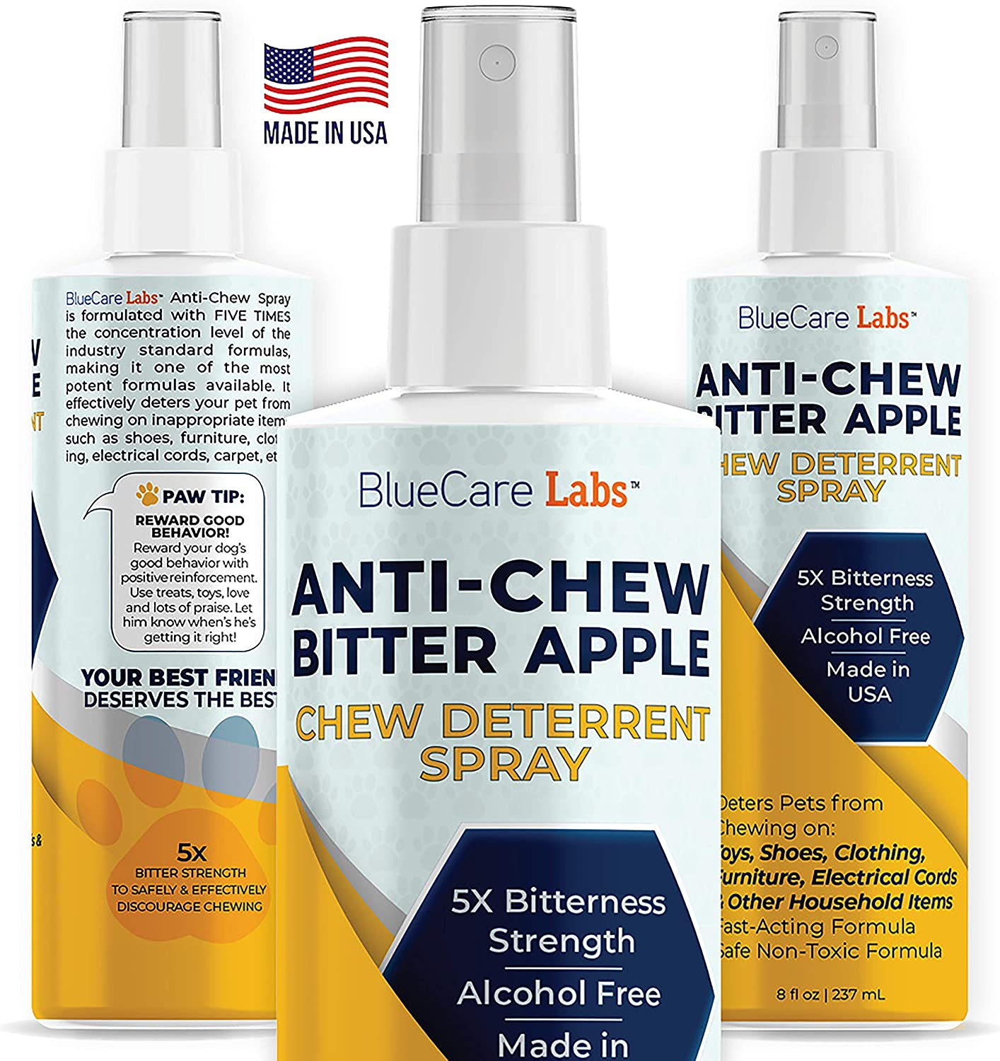 Bitter Apple Spray for Dogs Anti Chew Bitter Deterrent Spray for Dogs & Puppies Cats & Kittens - Training Treatment & Powerful Anti Chew Spray - Alcohol Free & Non Toxic Natural Safe No Chew Spray 8oz