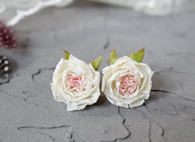 ca523cbba White bridal stud earrings with flower peony jewelry Cute wedding studs pin  post delicate floral nature small tiny maid of honor bridesmaids Sister  birthday ...