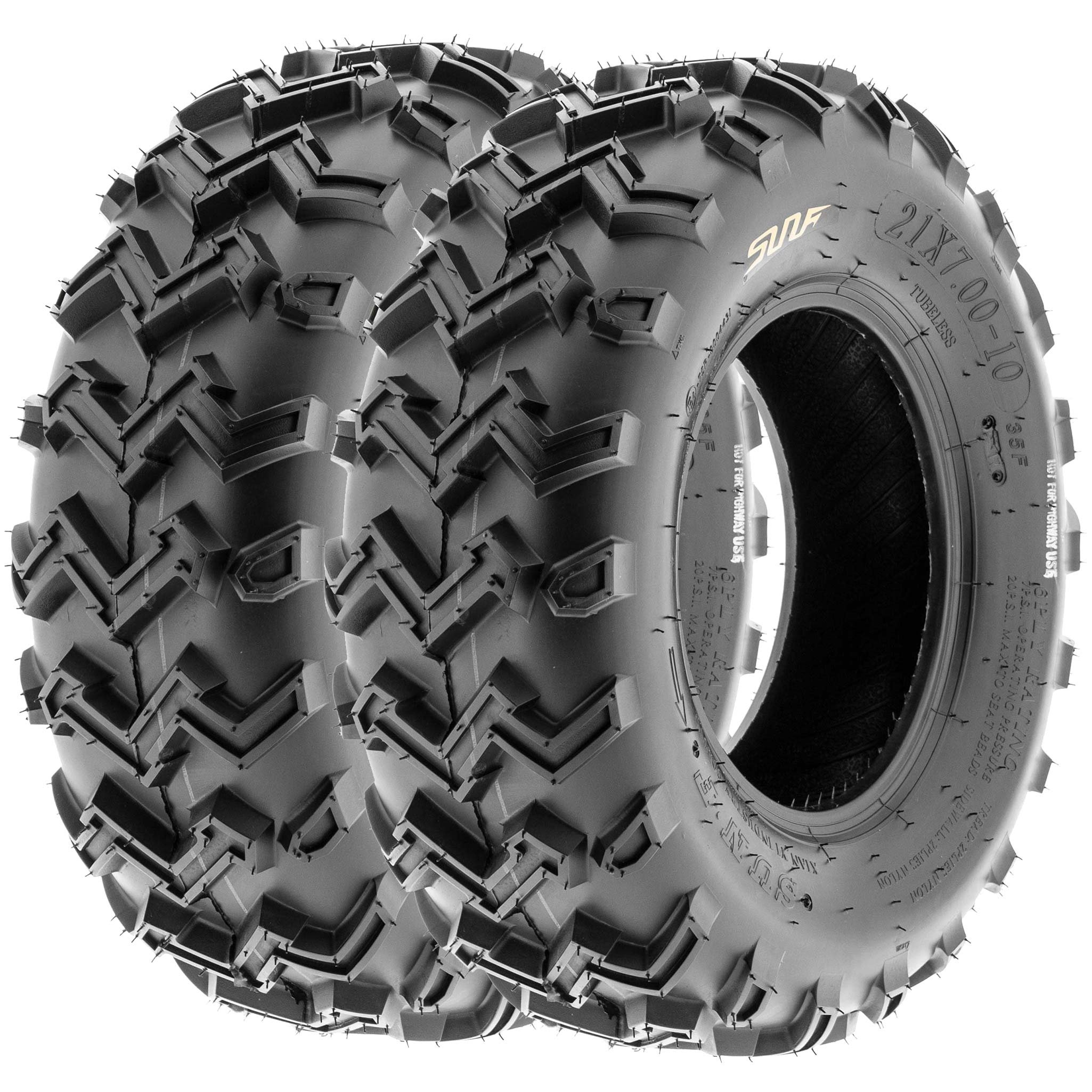 SunF 21x7-10 21x7x10 ATV UTV All Terrain Race Replacement 6 PR Tubeless Tires A001, [Set of 2] by SunF (Image #1)