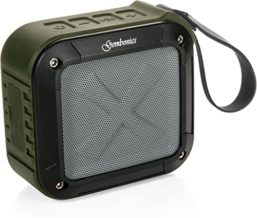 Wireless Bluetooth 4.1 Speaker by Gembonics, Best Shockproof Waterproof Shower Speakers with 10 Hour Rechargeable Battery Life, Powerful Audio Driver, Pairs with All Bluetooth Devices Green