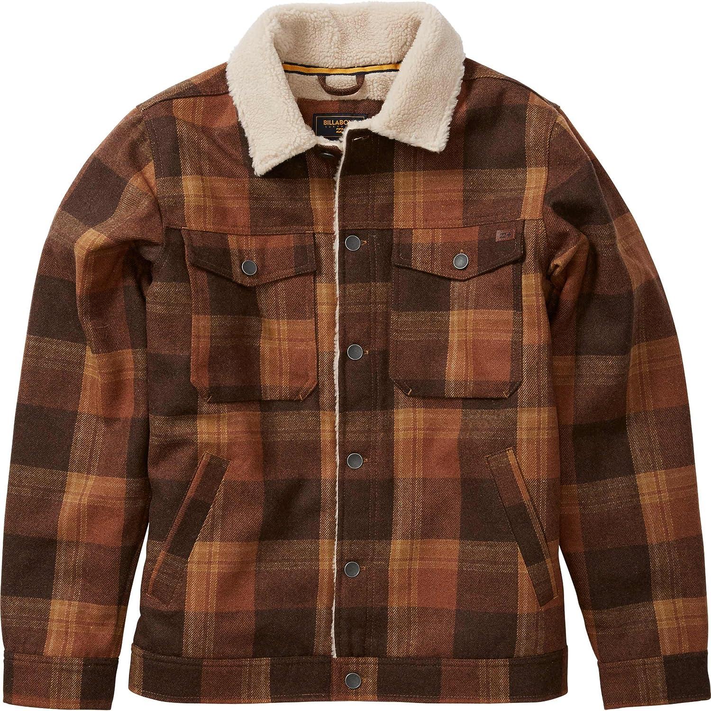 Mens Plaid Sherpa-Lined Jacket