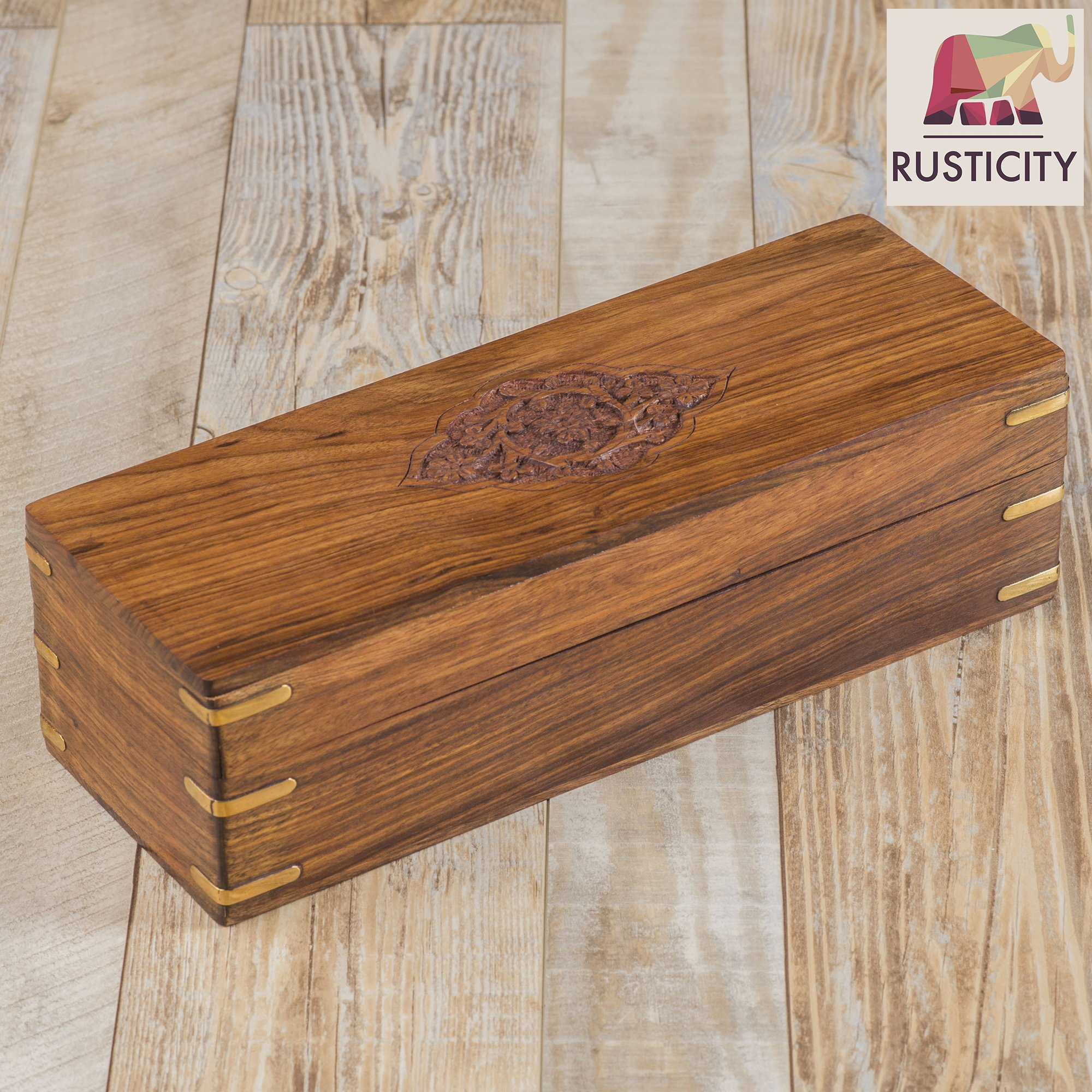 Rusticity Wooden Tea Box/Spice Organizer with Lid - 8 Slots | Handmade | (12x4.5 in) by Rusticity (Image #4)