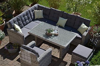 Bomey Rattan Lounge Set I Gartenmobel Set Manhattan 4 Teilig I Gartensofa Grau Tisch Sessel Hocker Polster Grau I Essgarnitur Fur Terrasse