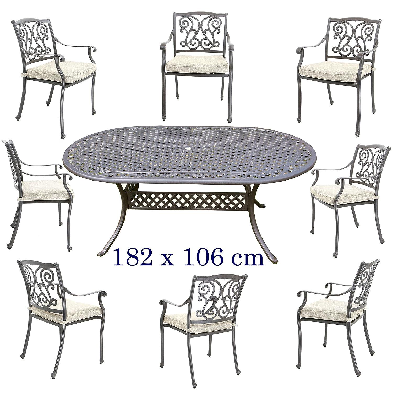 Hanseatisches Im- & Export Contor GmbH Aluguss Gartenmöbel Set, Gartenmöbelgarnitur bestehend aus Gartentisch 182 X 106 cm und (8 Gartenstühle)