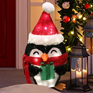 Joiedomi 21in Tinsel Penguin LED Yard Light for Christmas Outdoor Yard Garden Decorations, Christmas Event Decoration, Christmas Eve Night Decor