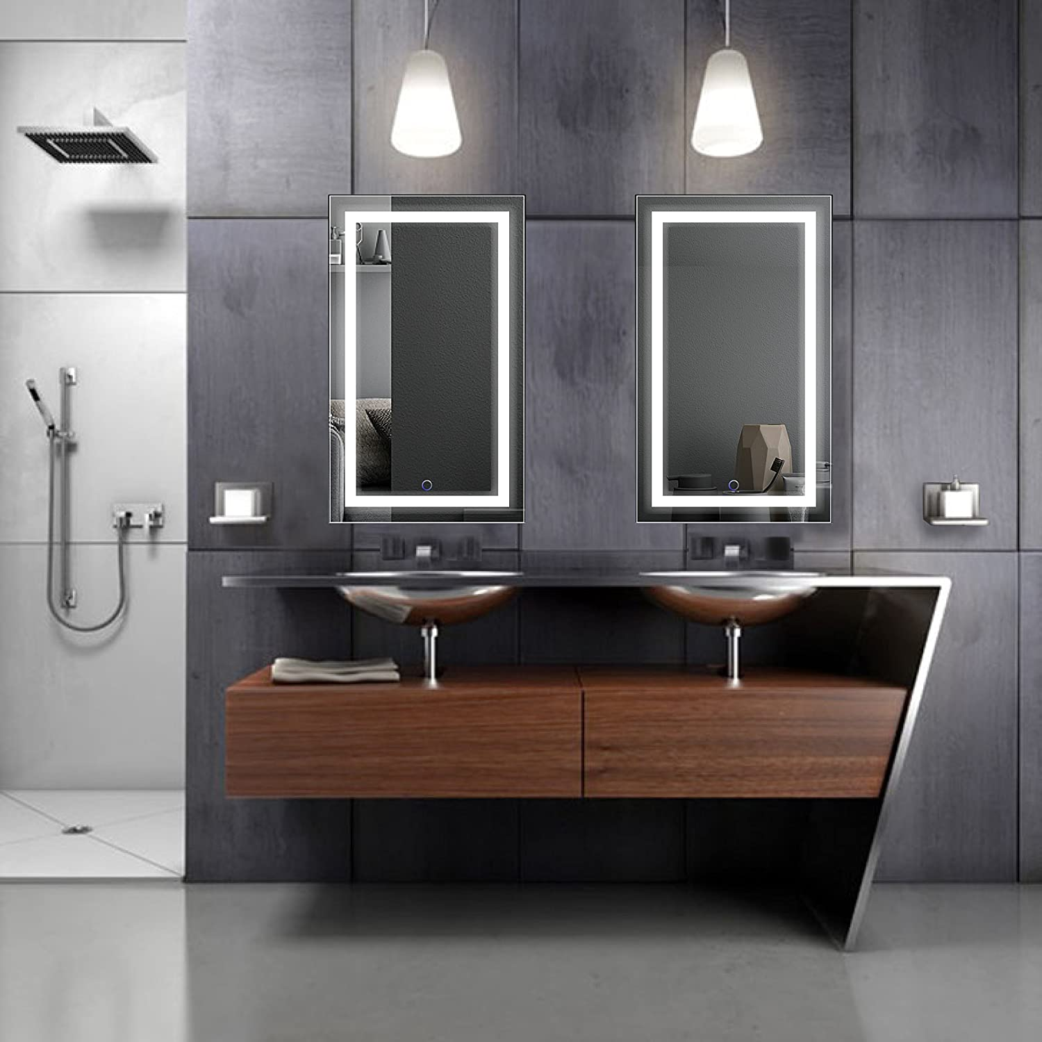 Backlit mirrors for bathrooms u s a together with boffis thirteen to - Amazon Com Led Bathroom Mirror 18 Inch X 30 Inch Lighted Vanity Mirror Includes Dimmer And Defogger Wall Mount Vertical Or Horizontal Installation