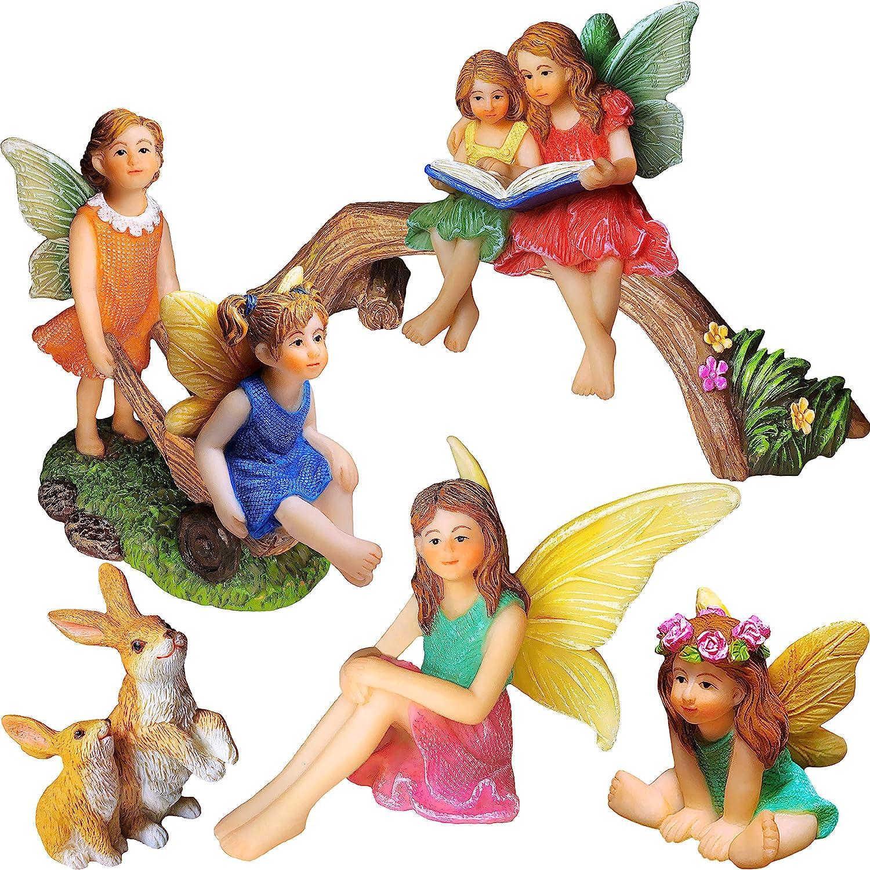 6pcs Fairy Garden Accessories Miniature Fairies Figurines for Outdoor Deco Mini Fairies Fairy Garden Figurines Accessories for Outdoor Deco Statue