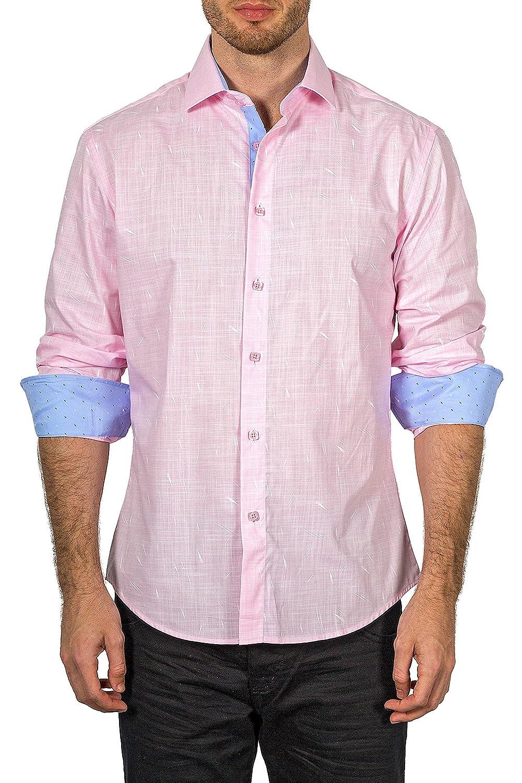 172611 BESPOKE MODA Bespoke Mens Pink Button up Long Sleeve Dress Shirt