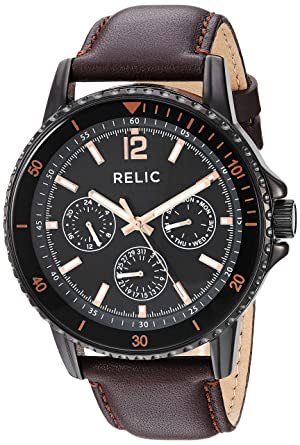 Relic by Fossil Men's Liam Quartz Metal and Leather Casual Watch
