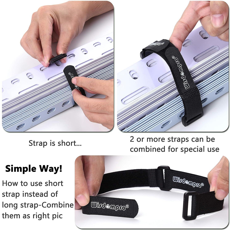 4330221287 oficina etc Ganchos reutilizables con cierre de velcro de Wisdompro/® negro aptos para organizar cables en tu casa