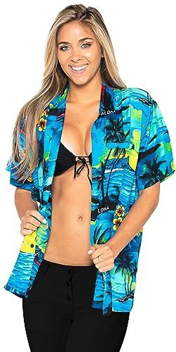 Cuello de la Camisa Ropa de Playa Hawaiano de Manga Corta con Botones de la Blusa Superior encubren ...