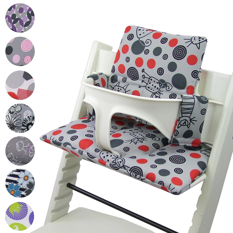 BambiniWelt Cojín de asiento para trona Stokke Tripp Trapp, en 20colores, asiento de 2piezas, funda de respuesto ABC Rot/Weiß funda de respuesto ABC Rot/Weiß