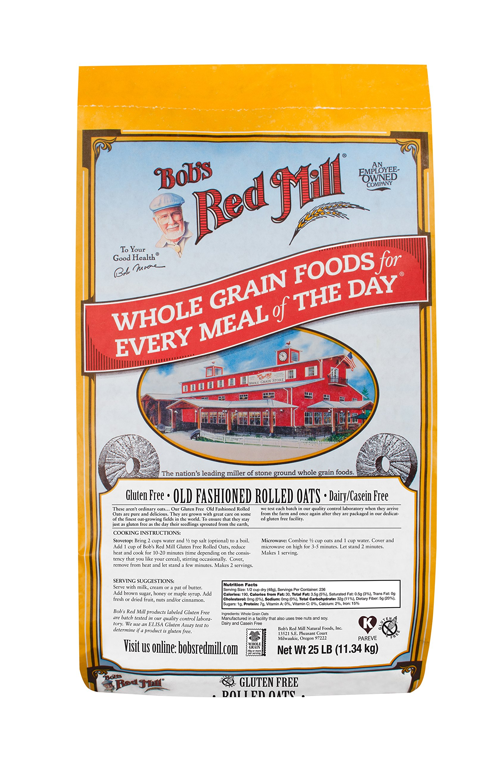 Bob's Red Mill Gluten Free Old Fashion Rolled Oats, 25 Pound by Bob's Red Mill