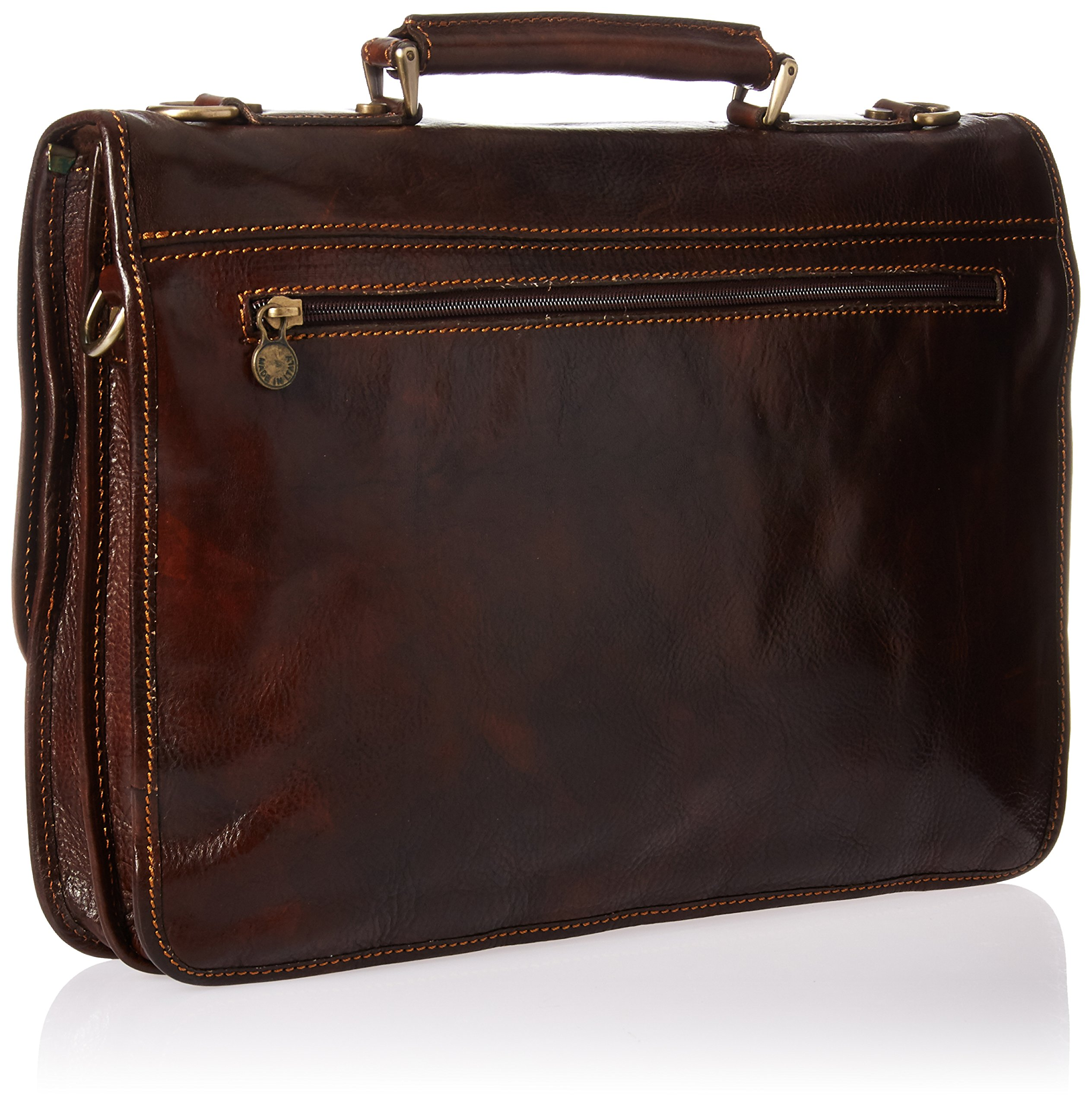 Luggage Depot USA, LLC Men's Alberto Bellucci Italian Leather Double Gusset D. Brn Laptop Messenger Bag, Dark Brown, One Size by Luggage Depot USA, LLC (Image #2)