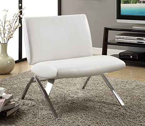 Amazon.com: Monarch Specialties White Leather And Chrome Modern .