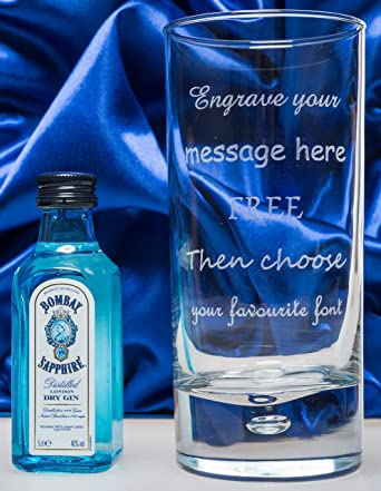 Engraved Personalised Hi Ball Glass Bombay Sapphire Gin In Silk Gift Box 18th