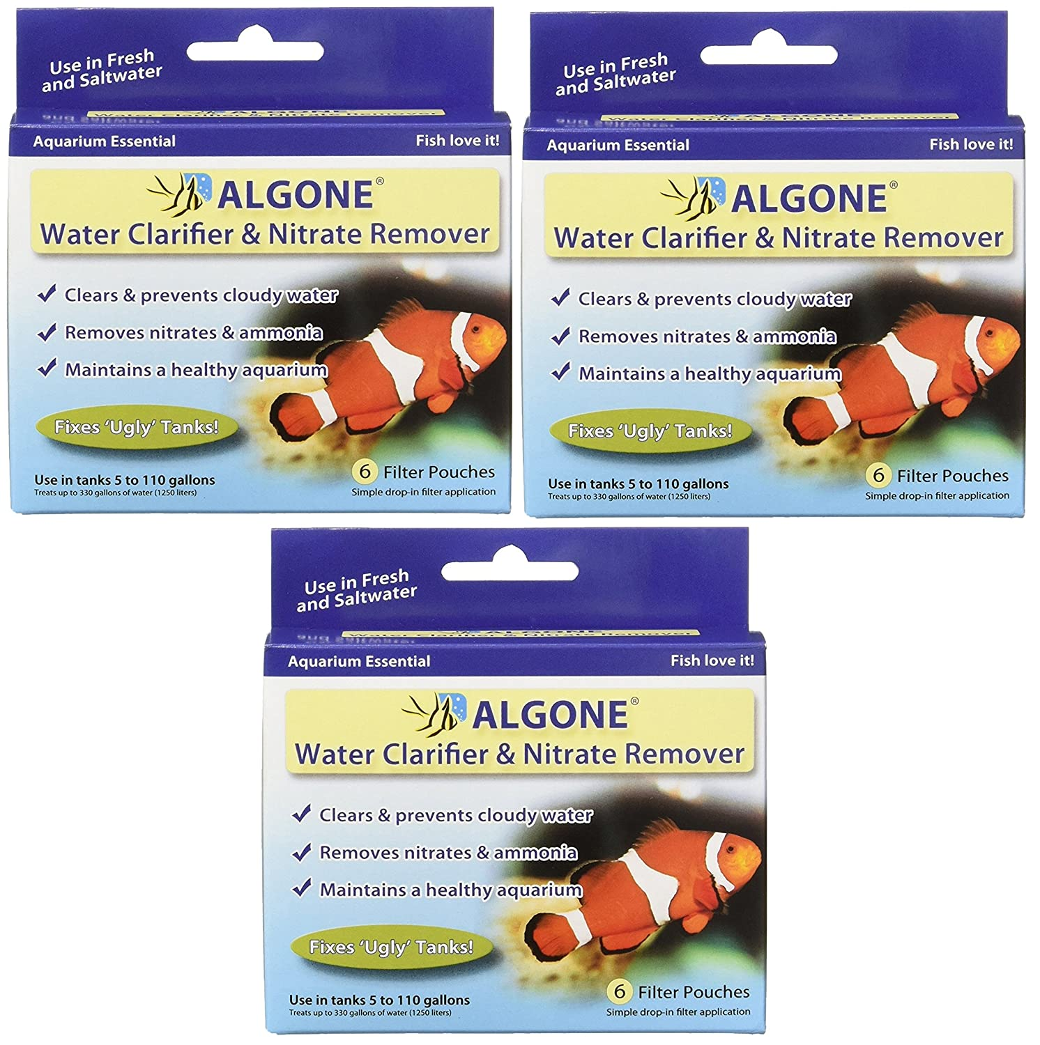 Aquarium Water Clarifier Algone and Nitrate Remover, 18 Filter Pouches (3 Packages with 6 Per Package)