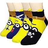 JJMax Womens Funny Yellow Guys Minions Cotton Blend Socks Set
