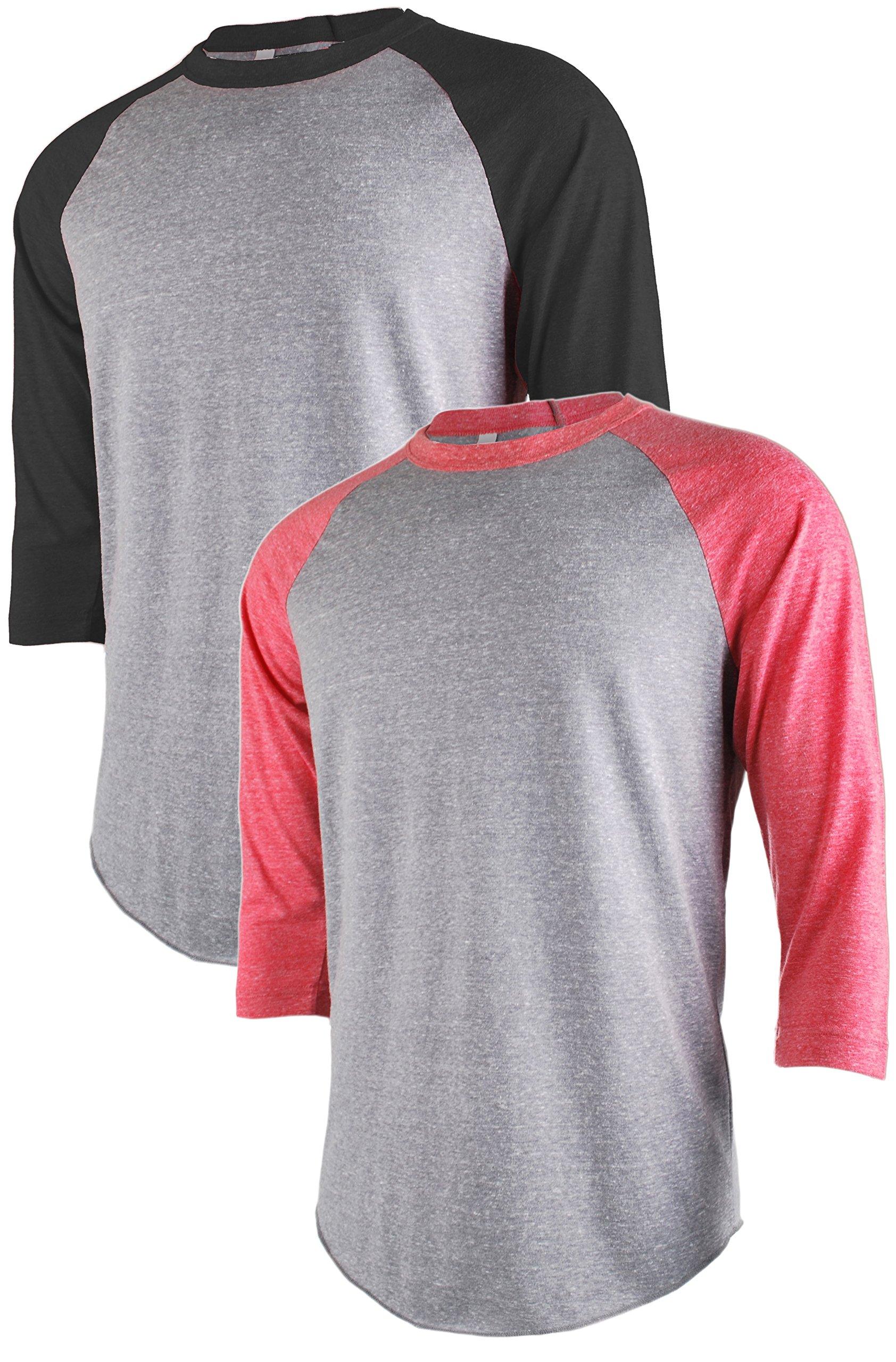 TOP LEGGING TL Men's Active Basic 3/4 and Long Sleeve Baseball Raglan Crew Neck Shirt SET2_LGRBLK_LGRRED L