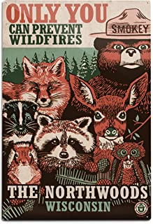product image for Lantern Press Northwoods, Wisconsin, Smokey Bear and Woodland Creatures 98509 (12x18 Aluminum Wall Sign, Metal Wall Decor Ready to Hang)