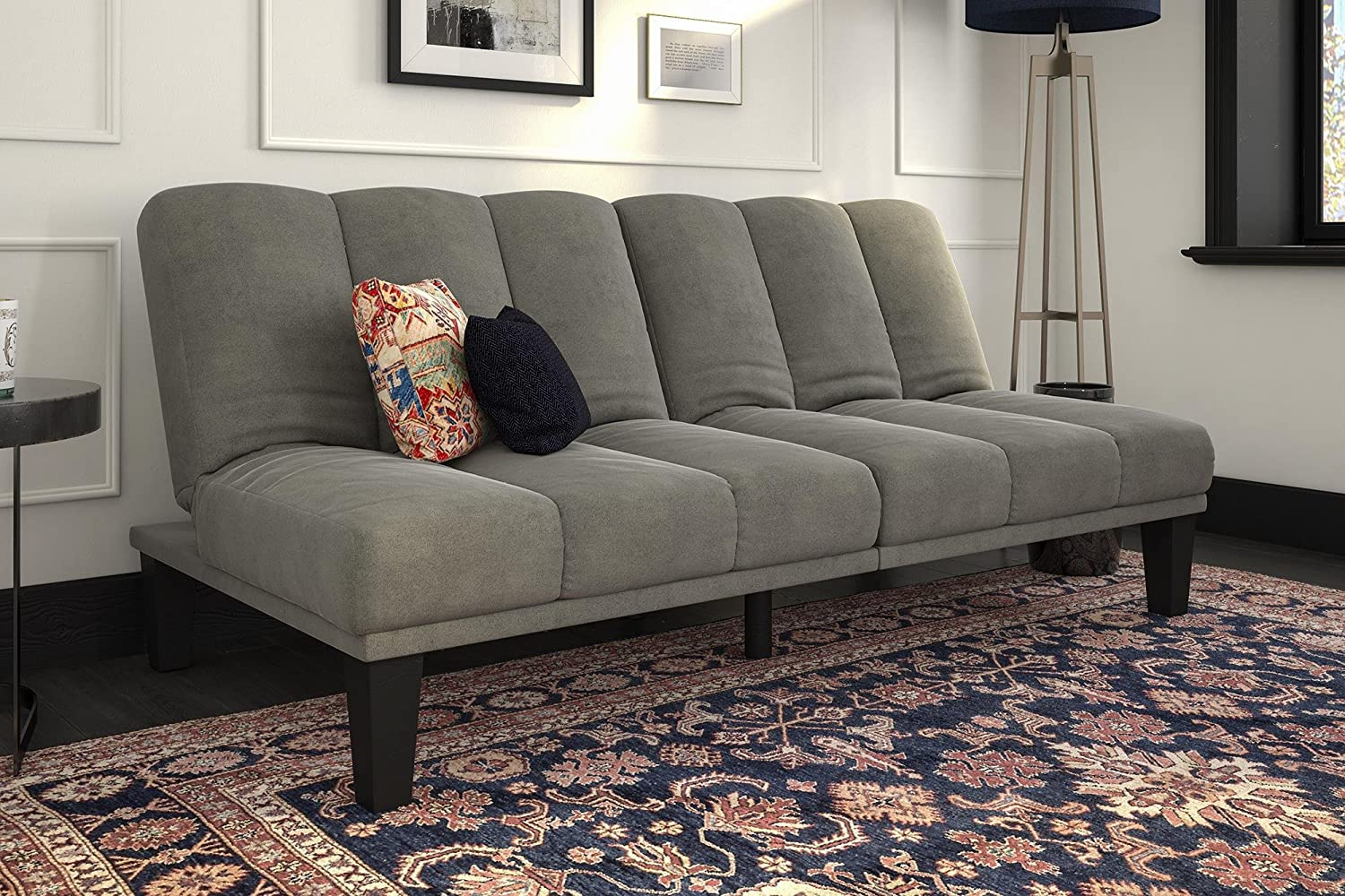 DHP Hamilton Estate Premium Futon Sofa Sleeper, Comfortable Plush Microfiber Upholstery, Rich Grey