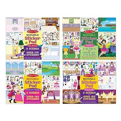 Melissa & Doug Reusable Sticker Pads Set: Fairies, Princess Castle, Play House, Dress-Up - 680+ Stickers: Melissa & Doug: Toys & Games