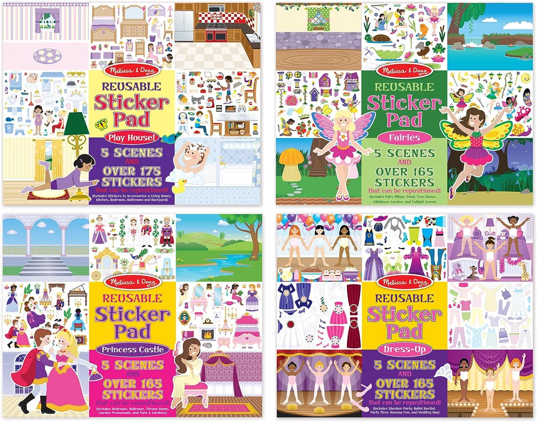 Melissa /& Doug Reusable Sticker Pad Bundle Pack of 4