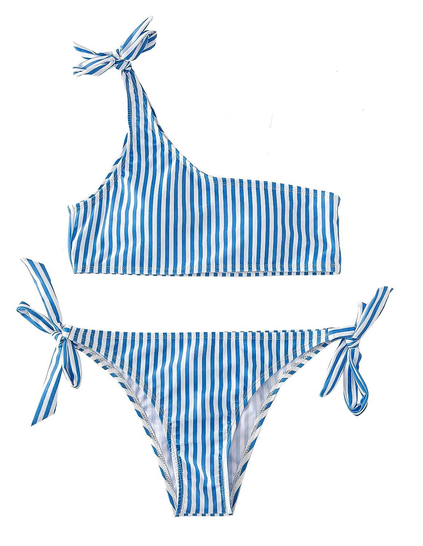 bluee Mumentfienlis Womens Two Piece Striped Bikini