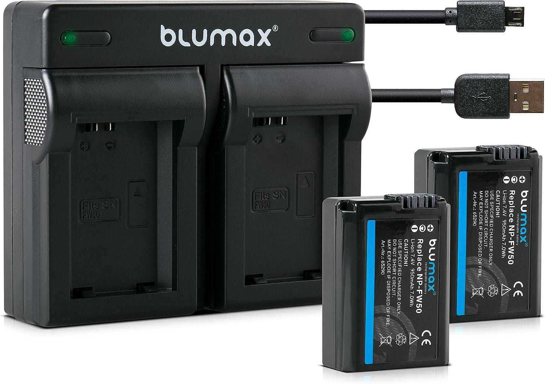 Blumax 2x Akku Dual Ladegerät Usb Für Sony Np Fw50 Elektronik