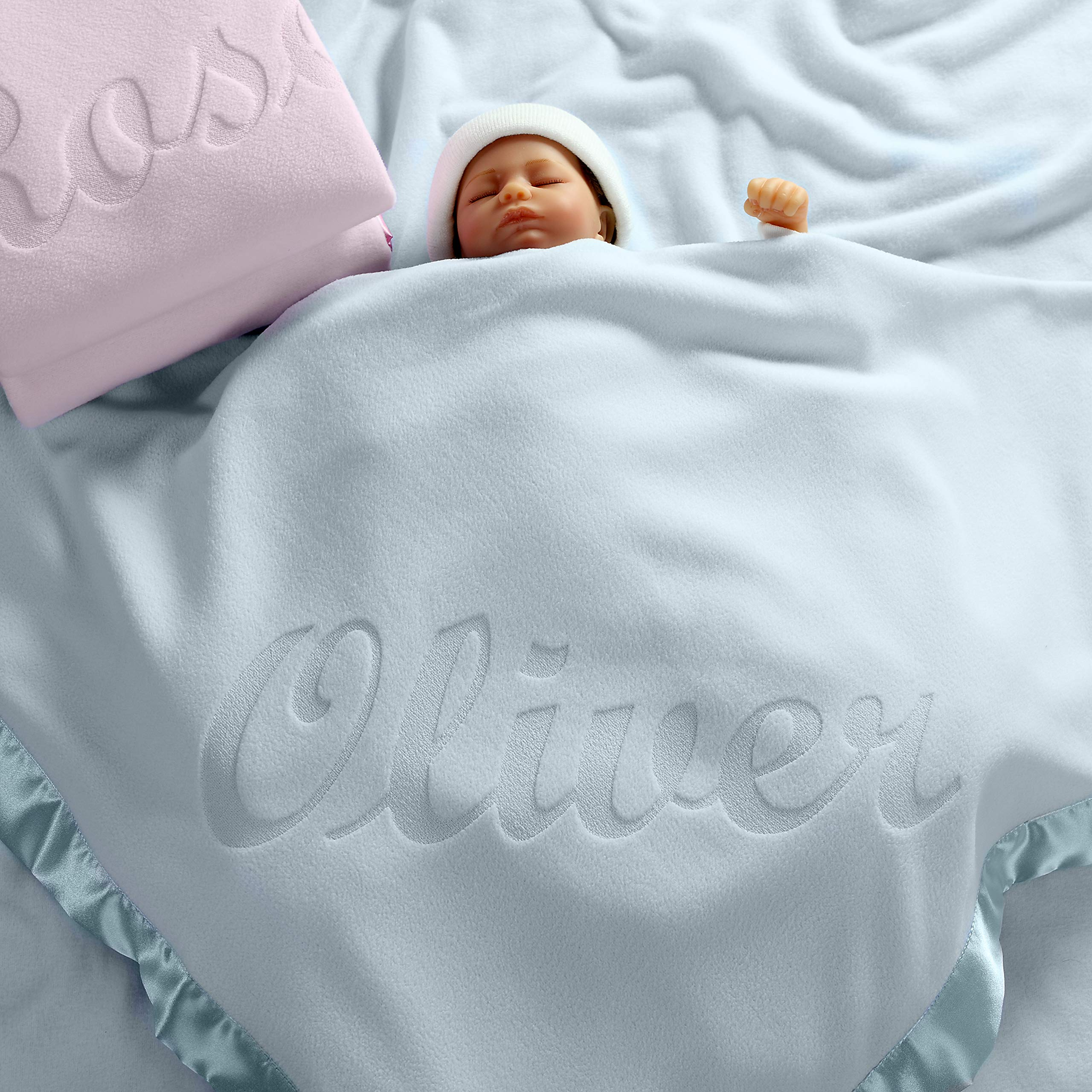 Personalized Baby Blankets (Blue), Large 36x36 Inch, Wide Satin Trim, 200 GSM Fleece by Custom Catch