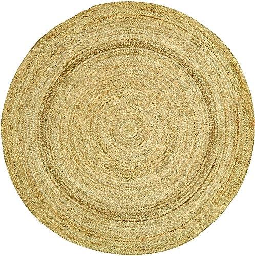 Coastal Farmhouse Flooring – Harlow Tan Round Jute Rug, 6 Diameter