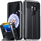 Galaxy S9 Plus Wallet Case, Vena [vCommute][Military Grade Drop Protection] Flip Leather Cover Card Slot Holder with Kickstand for Samsung Galaxy S9+ Plus (Space Gray/Black)