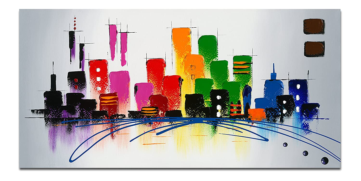 Amazon.com Wieco Art Cityscape Extra Large Colorful City 100% Hand Painted Modern Gallery Wrapped Abstract Landscape Oil Paintings on Canvas Wall Art Ready ...  sc 1 st  Amazon.com & Amazon.com: Wieco Art Cityscape Extra Large Colorful City 100% Hand ...