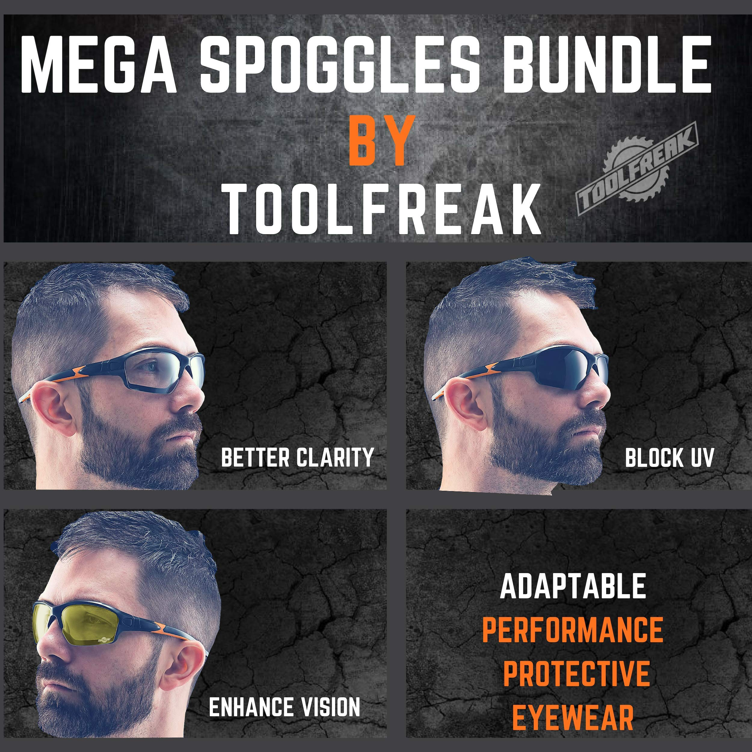 ToolFreak Spoggles Work and Sports Safety Glasses, Clear, Smoke and Yellow Tinted Lens Mega Bundle Offer, Foam Padded, ANSI z87 Rated with Impact and UV Protection by ToolFreak (Image #4)