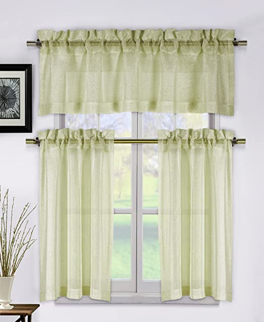 1 Valance Metallic Taupe 3 Piece Kitchen Window Curtain Set 2 Tier Panels