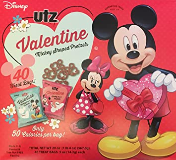 Utz Valentine Mickey Shaped Pretzel Snacks 40 Treat Bags Classroom Candy