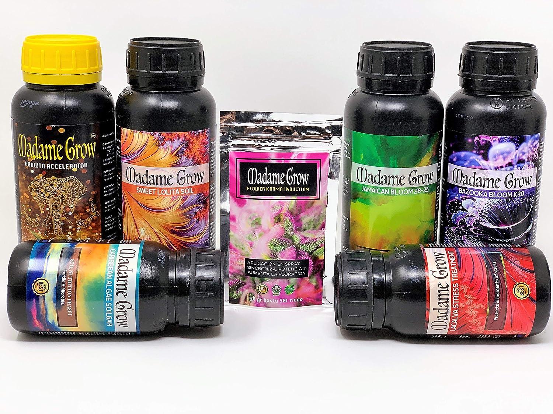 MADAME GROW / Kit Deluxe / 7PACK / Consigue la Gama Completa/Fertilizantes Orgánicos/Ciclo Completo/Marihuana o Cannabis/Ahorro de mas del 40% - 4 X 500 ml + 2 X 250 ml + 30 GR