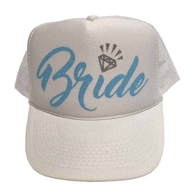 6a6b3270386 Neon Bachelorette Party Bride Tribe Mesh Trucker Snap Back Hat (Neon Blue  Bride
