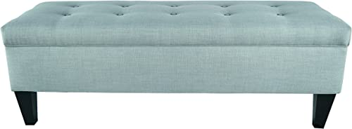 ModHaus Living Button Tufted Long Storage Aqua Ottoman Bench Includes TM Pen