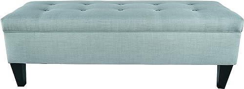ModHaus Living Button Tufted Long Storage Aqua Ottoman Bench Includes TM Pen