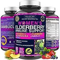 Women's Elderberry Vitamins, [7-in-1, Vegan] Sambucus Elderberry, Vitamin C, Zinc, Garlic, Echinacea, Turmeric Blend. 60…