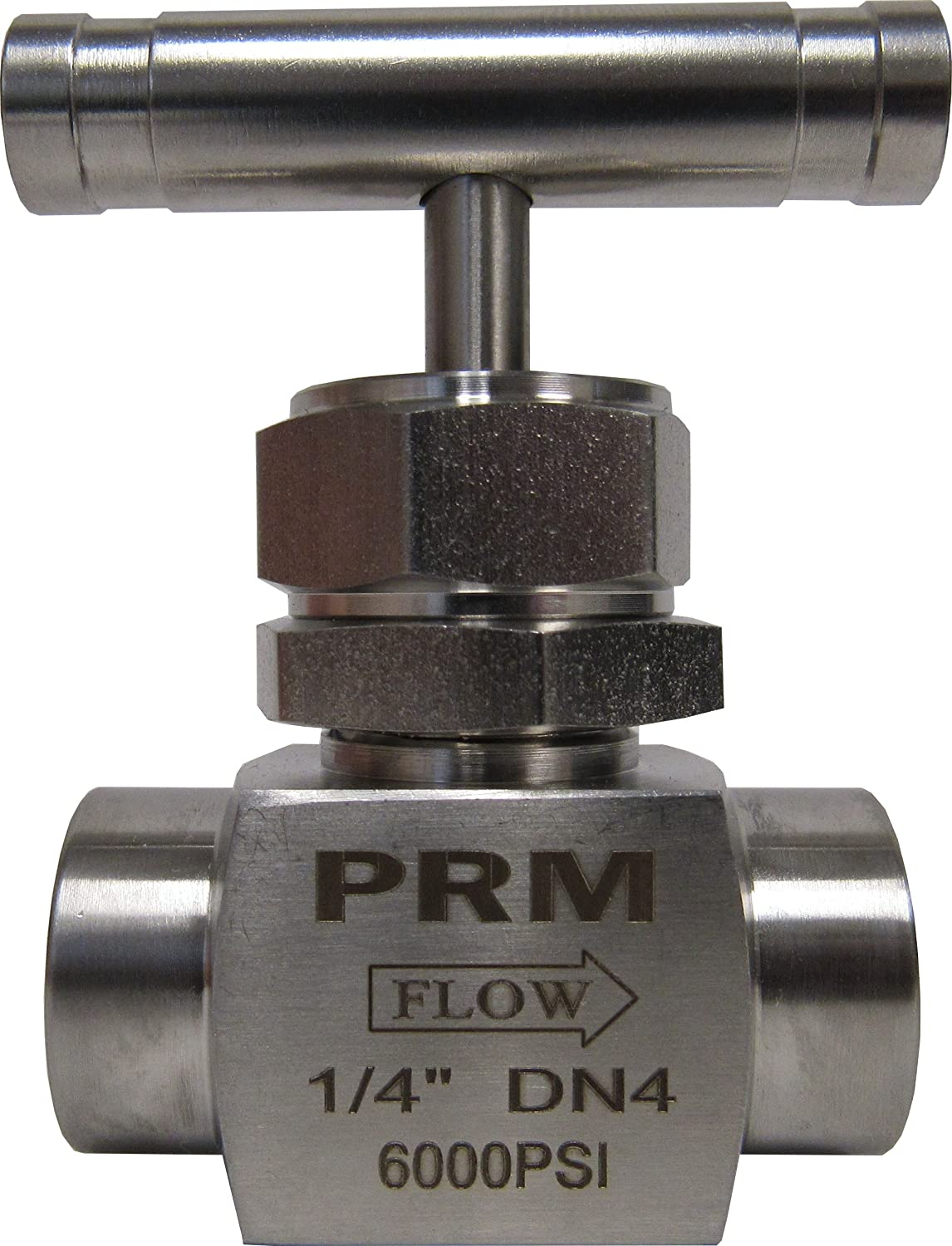 6000 psi Pressure 1//4 Male NPT x 1//4 Male NPT Connection Size Gas PIC Gauge NVS-CS-1//4-GS180-MXM Carbon Steel Small Body Straight Needle Valve with Round Handle