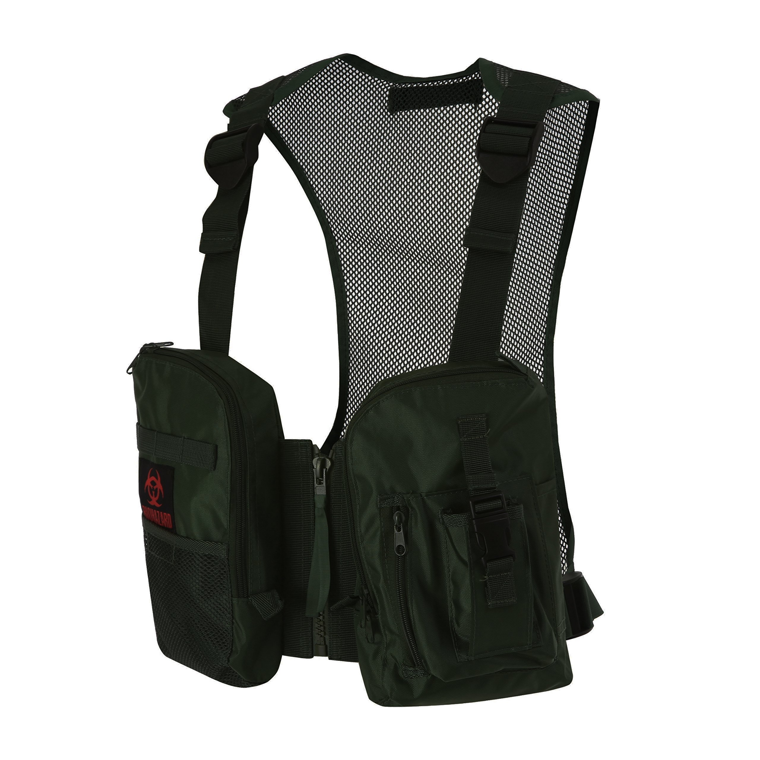 Military Hunting Fishing Mesh Adjustable Elastic Waistband Vest 【One Size Fits All】 (Black)