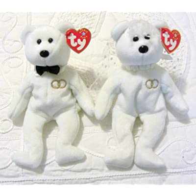 Ty Beanie Baby Mr and Mrs Bear Bride and Groom Wedding Teddy Set of 2: Toys & Games